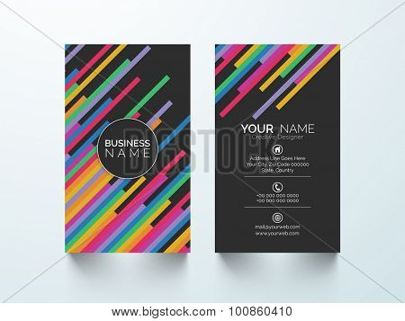 Colorful abstract design decorated vertical business card or visiting card set for your company.
