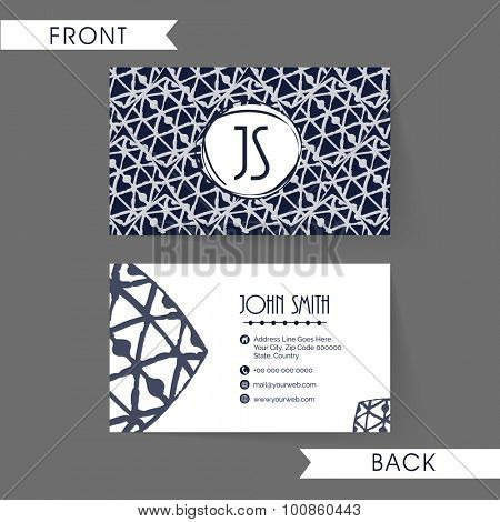 Stylish blue abstract design decorated horizontal business card, name card or visiting card set in blue and white colors.