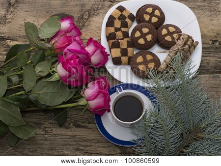 Bouquet Of Beautiful Roses, Coniferous Branch, Cookies And Coffee