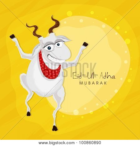 Illustration of a goat on yellow background for muslim community festival of sacrifice, Eid-Ul-Adha Mubarak.
