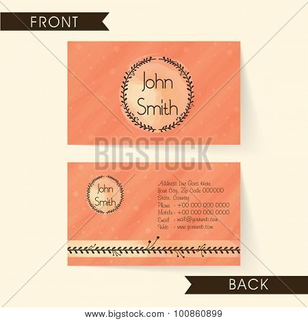 Creative orange color horizontal business card, name card or visiting card set for your company and Organization.