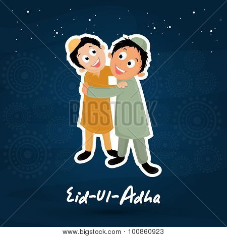 Cute little kids hugging and giving wishes to each other on seamless background for muslim community festival of sacrifice, Eid-Ul-Adha.
