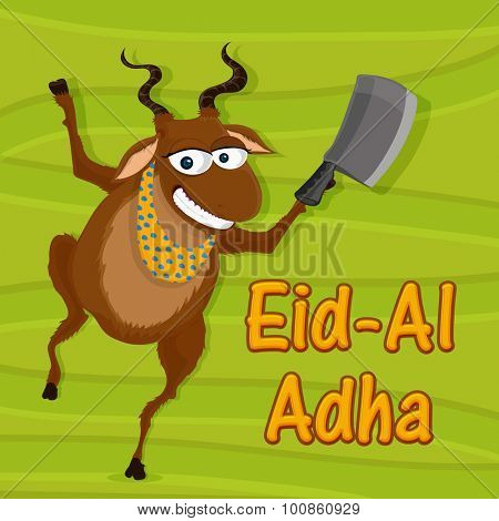 Funny goat holding chopper on stylish green background for Islamic Festival of Sacrifice, Eid-Al-Adha celebration.