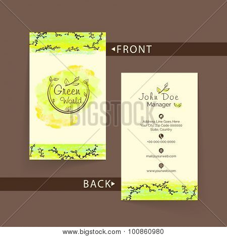 Beautiful green and beige colors, vertical business card, name card or visiting card set om brown background.