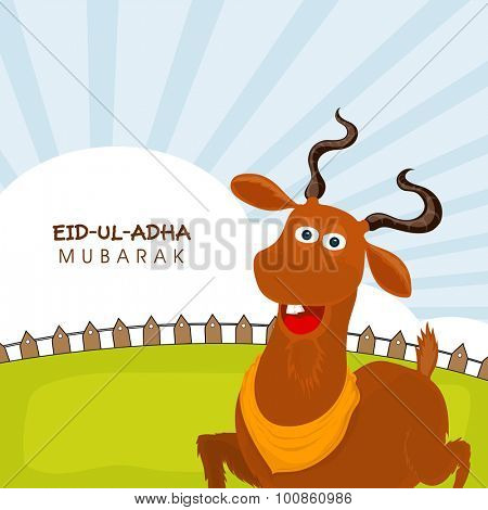 Muslim community festival of sacrifice, Eid-Ul-Adha Mubarak with illustration of a goat on nature background.