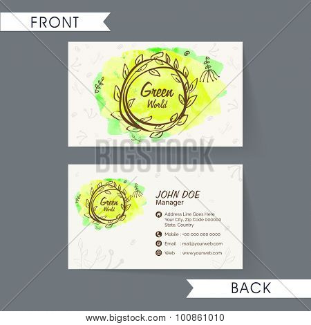 Beautiful nature conceptualize horizontal business card, name card or visiting card set in green and beige colors on grey background.