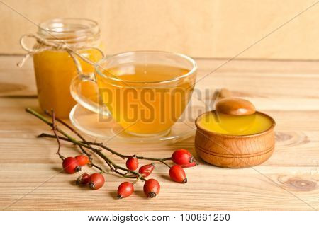 Still Life From Cup Of Tea , Honey And Hawthorn