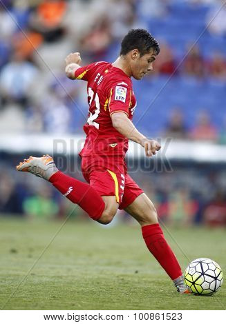 BARCELONA - AUG, 22: Emiliano Buendia of Getafe during a Spanish League match against RCD Espanyol at the Power8 stadium on August 22 2015 in Barcelona Spain