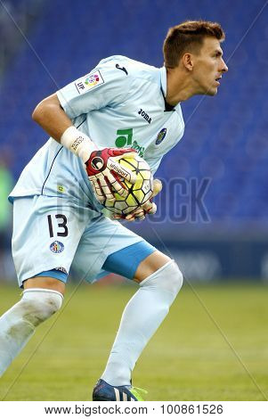 BARCELONA - AUG, 22: Vicente Guaita of Getafe during a Spanish League match against RCD Espanyol at the Power8 stadium on August 22 2015 in Barcelona Spain