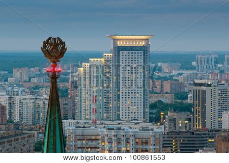MOSCOW - JUN 10, 2015: Spire Leningradskaya Hotel of high-rise buildings of residential area of Moscow