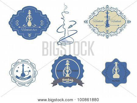 hookah emblems set isolated vector illustration
