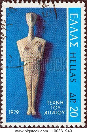 GREECE - CIRCA 1979: A stamp printed in Greece shows Cycladic Figure from Amorgos island