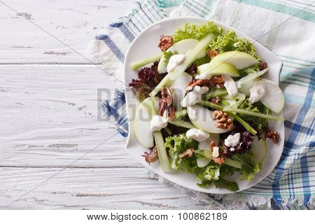 Waldorf Salad With Apples, Celery And Walnuts. Horizontal Top View