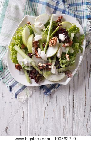 Waldorf Salad With Apples, Celery And Walnuts On A Plate. Vertical Top View
