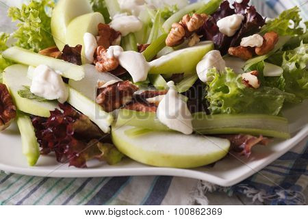 Healthy Waldorf Salad Close-up On A Plate. Horizontal