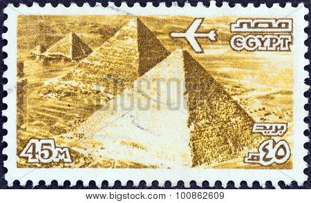 EGYPT - CIRCA 1978: A stamp printed in Egypt shows the Three Pyramids at Giza