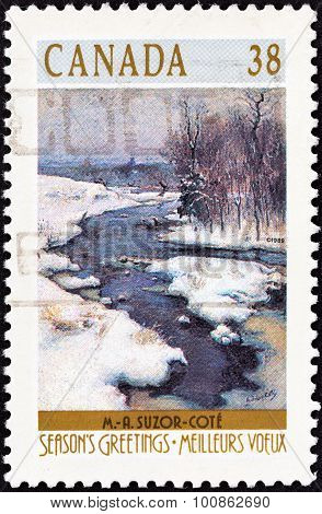 CANADA - CIRCA 1989: A stamp printed in Canada shows Bend in the Gosselin River painting