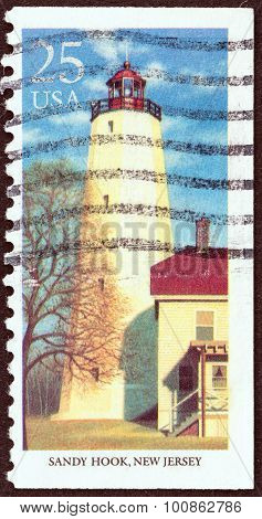 USA - CIRCA 1990: A stamp printed in USA shows Sandy Hook, New York Harbour