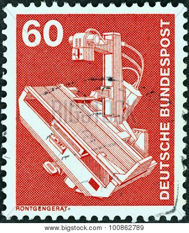 GERMANY - CIRCA 1975: A stamp printed in Germany shows X-ray apparatus