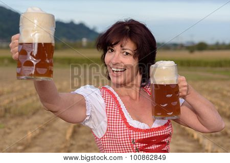 Happy Young Bavarian Woman Celebrating Oktoberfest