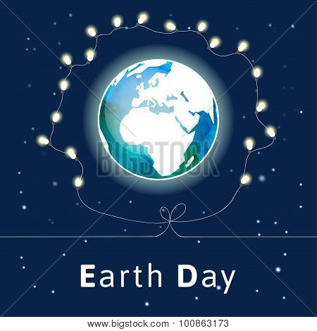 Earth Day poster with light bulbs.