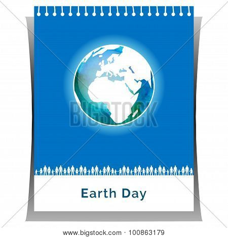 Poster for Earth Day in white and blue colors.