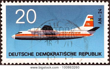 GERMAN DEMOCRATIC REPUBLIC - CIRCA 1969: A stamp printed in Germany shows Antonov An-24B