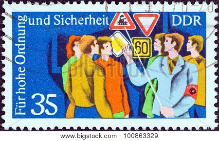 GERMAN DEMOCRATIC REPUBLIC - CIRCA 1975: A stamp printed in Germany shows Road safety instruction