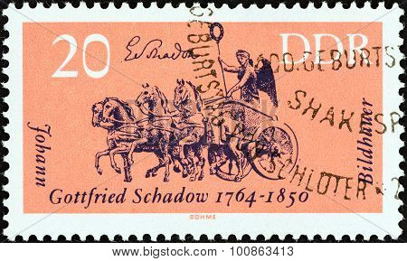GERMAN DEMOCRATIC REPUBLIC - CIRCA 1964: Stamp  shows Quadriga, Brandenburg Gate