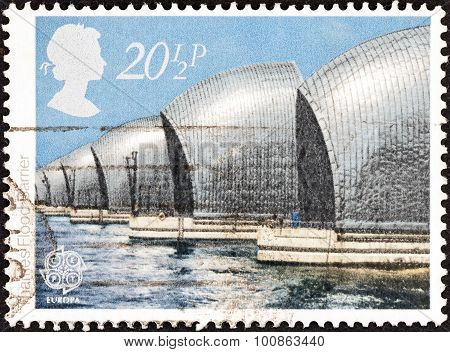 UNITED KINGDOM - CIRCA 1983: A stamp printed in United Kingdom shows Thames Flood Barrier