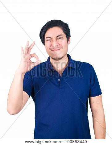 Asian Handsome May Making Ok Sign, Isolated On White Background.