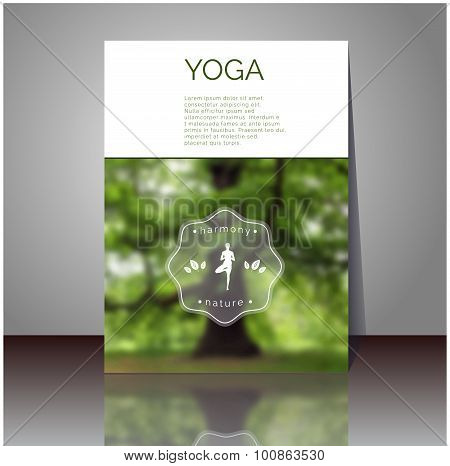 Yoga vector poster. Professional flyer template or banner design.
