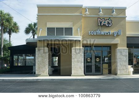 JACKSONVILLE, FLORIDA - AUGUST 2, 2015: A Moe's Southwest Grill fast casual restaurant in Jacksonville. There are currently over 600 Moe's restaurant locations in the United States.