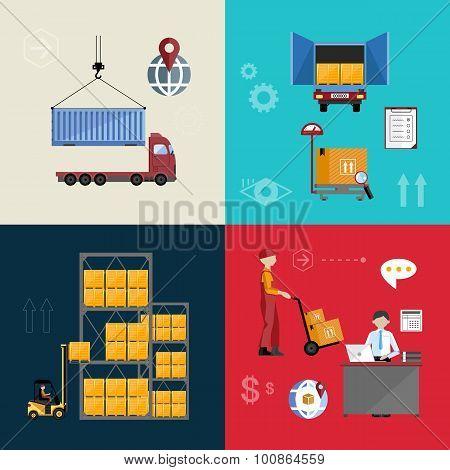 Logistics process. Delivery truck. Logistics management. Logistics concept. Online logistics management. Logistic transport. Logistics infographics. Logistics warehouse. Logistics delivery truck.