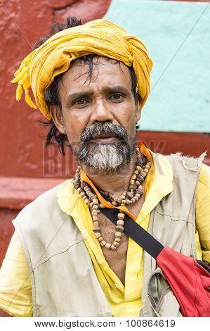 Old Man At Janmashtami Celebration