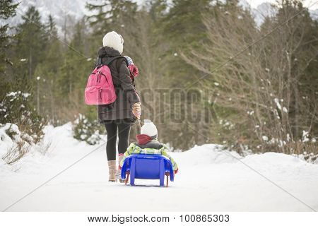 Mother Carrying Her Baby In A Sling While Pulling Her Toddler Through Snow On A Toboggan