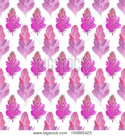 Seamless Pattern Of Pink Feathers.