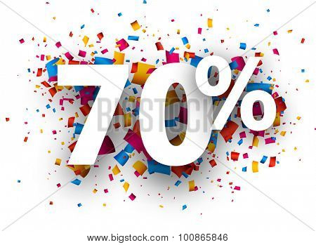 70% sale sign with colour confetti. Vector paper illustration.