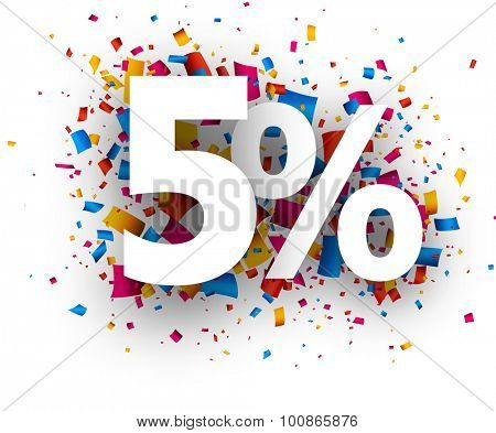 5% sale sign with colour confetti. Vector paper illustration.