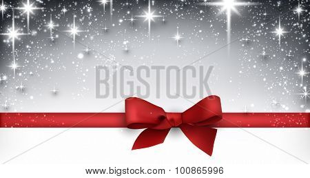 Elegant starry christmas banner with red bow. Vector Illustration with snowflakes and place for text.