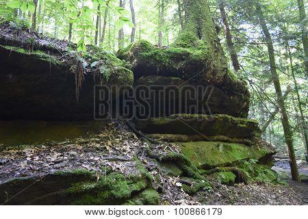 rocks along a valley wall