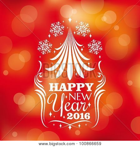 New Year Card With Stylized Tree