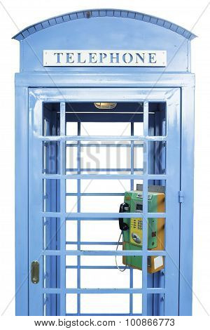 Vintage telephone booth isolated on white background.