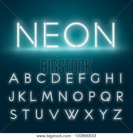 Realistic Neon Alphabet. Glowing Font. Vector Format