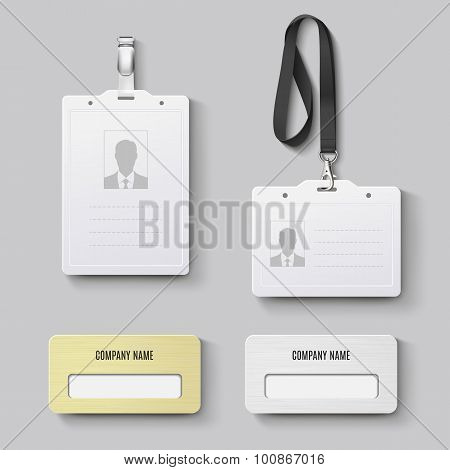 White Blank Plastic With Clasp Lanyards Identification Badge And Metal Gold, Silver Id Badge. Isolat