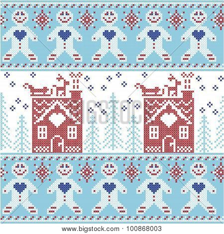 Light blue, dark blue and red Scandinavian Nordic Christmas  seamless pattern with gingerbread man ,
