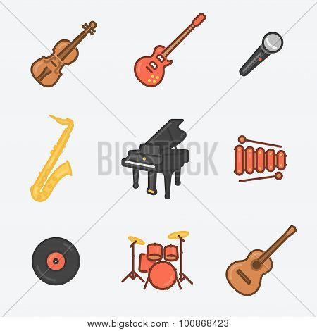 Musical Instruments Icon Set (violin, Electric Guitar, Mic, Saxophone, Royal, Xylophone, Wax, Drums,