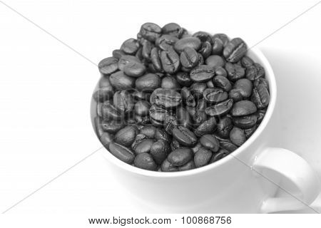 Coffee Beans Seed In White Cup Black And White