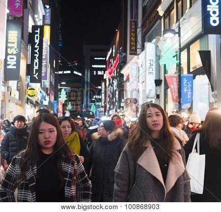 Crowd People  In Seoul Capital Of South Korea, As Urban Scene At Night
