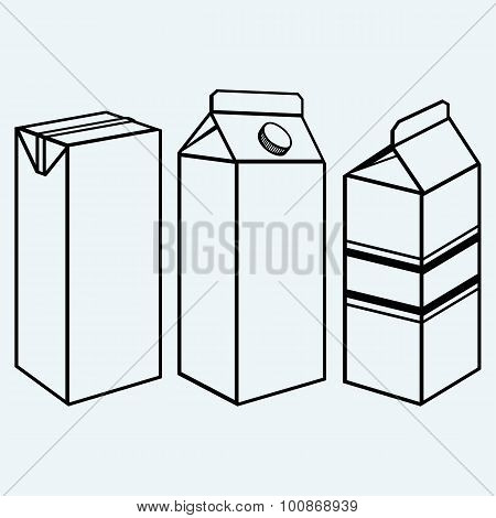 Set of boxes for milk and juice